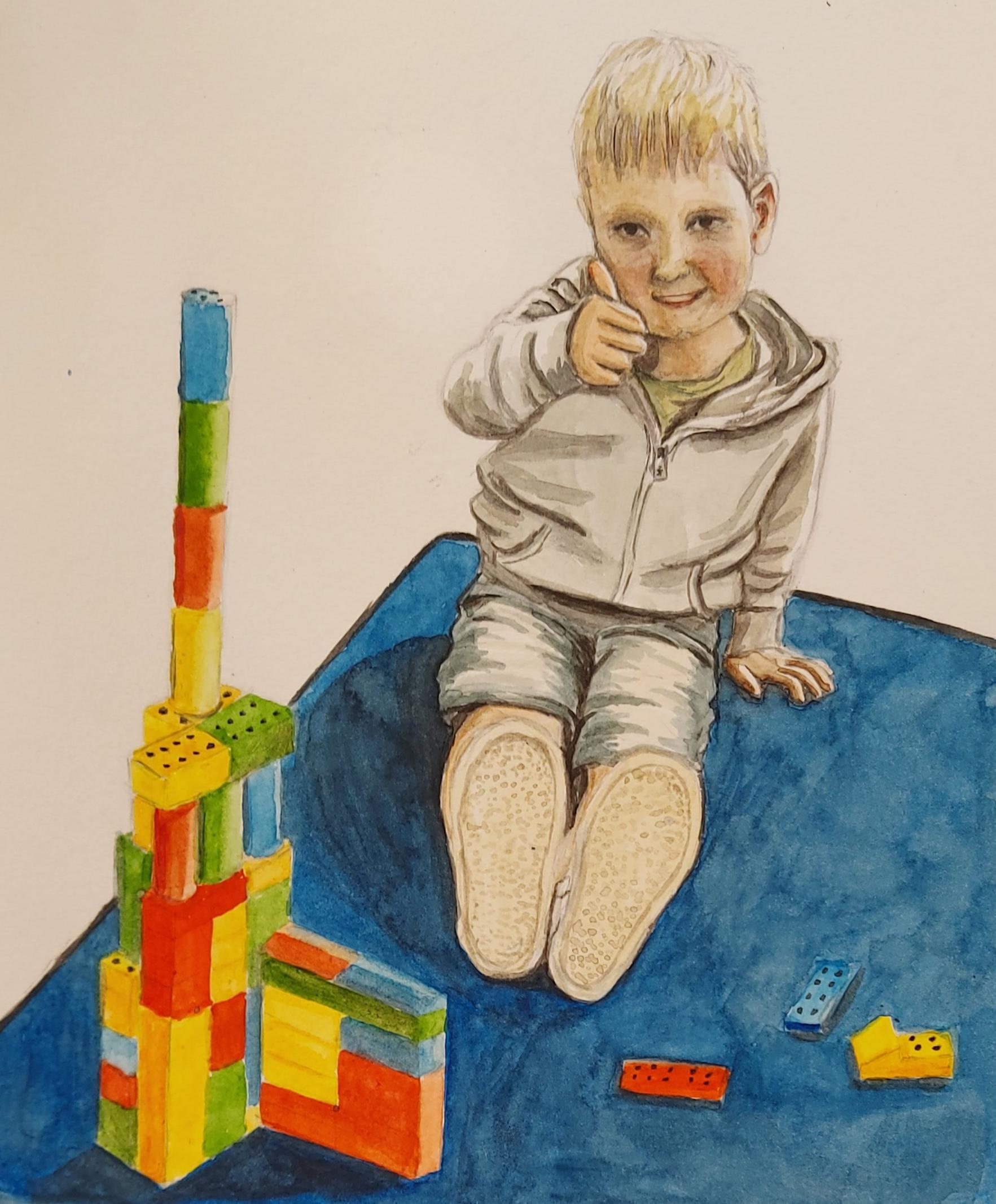 Topgebouw! – aquarel op papier – in opdracht