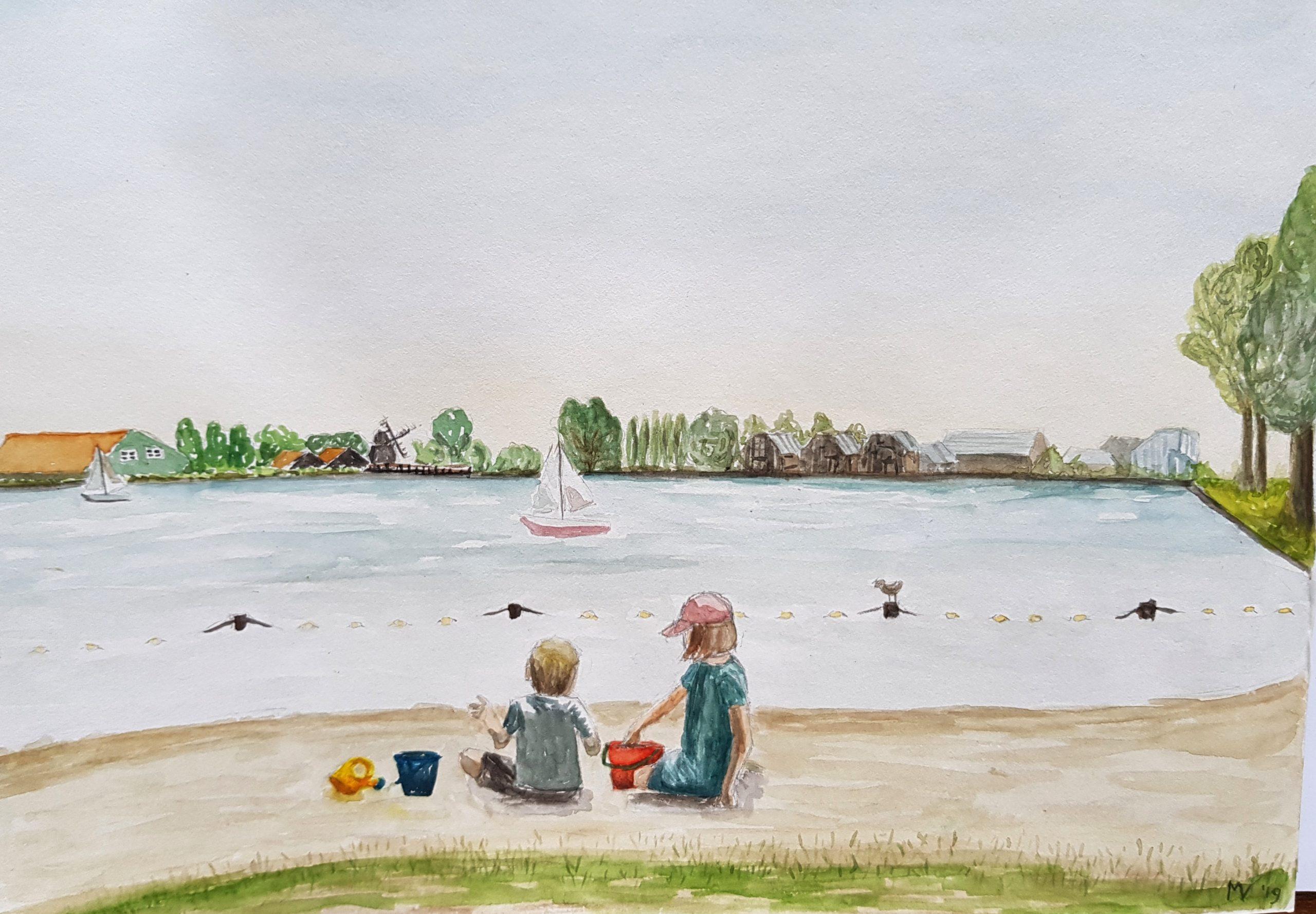 Spelen aan het water – aquarel op papier – eigen werk