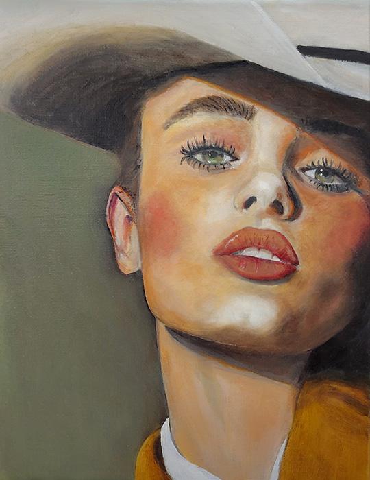 Cowgirl – olieverf op doek – 20 x 30 – 300,- euro