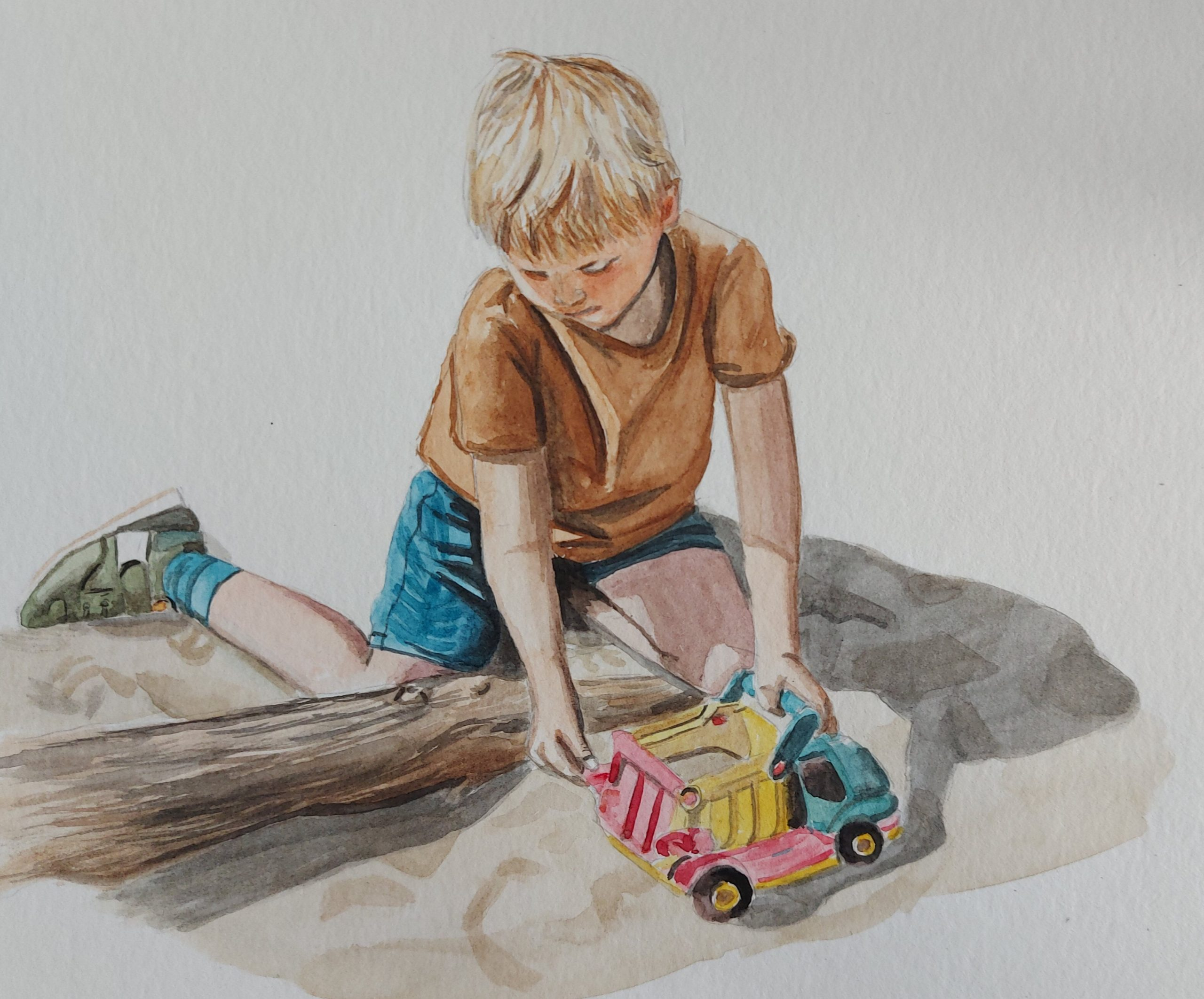 Odin in het zand – aquarel op papier – eigen werk