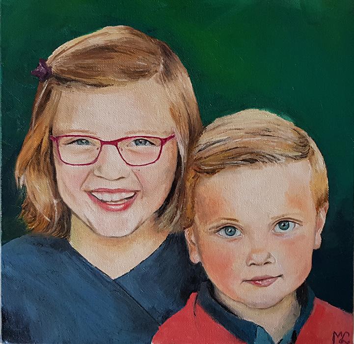 mijn kinderen – olieverf op canvasboard – eigen werk