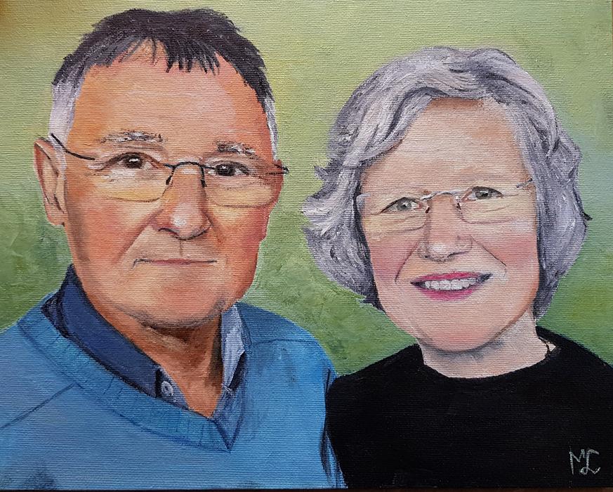 mijn ouders – olieverf op canvasboard – in opdracht